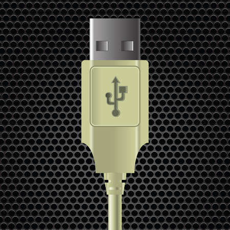 perforated: illustration  with USB cable on dark metal perforated background
