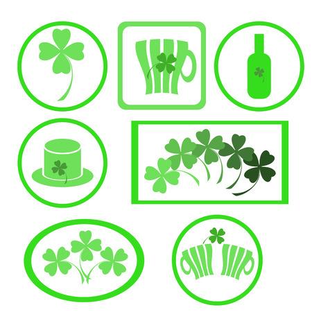 irish pub label design: Four- leaf clover - Irish shamrock St Patricks Day symbol. Useful for your design. Green  clover labels. St. Patricks day green icons  on white background. Stock Photo