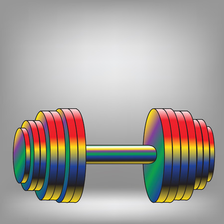coloful: illustration witn coloful dumbbell on grey background