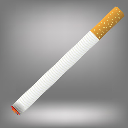 burns: Realistic cigarette  on a grey background. Cigarette burns. Stock Photo
