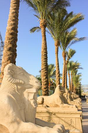 pharoah: Statue of ram-headed sphinx and pharoah