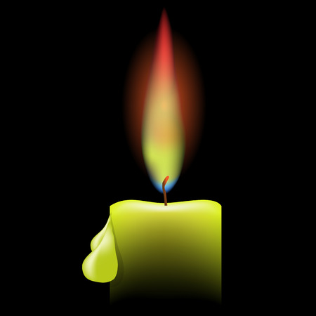 alight: Burning Single Candle on a Black Background. Drops of Wax on the Candle. Bright Flame of a Candle.