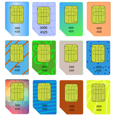 cdma: Set of Different SIM Cards Isolated on White Background. Illustration