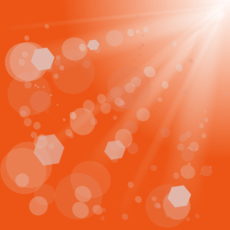blinding: Sun Lights on Orange Background.  Orange Summer Sun Light Burst.