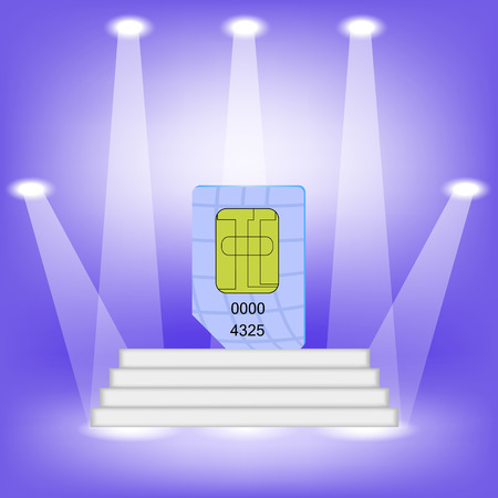 gsm phone: Blue SIM Card  on Light Background. SIM Card on the White Steps.