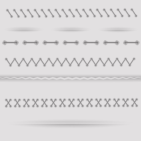 Set of Dividers isolated on Grey Background. Vector