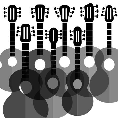 frets: Set of Silhouettes Guitars Isolated on White Background.
