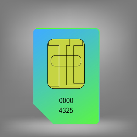 cdma: Green Blue Sim Card Isolated on Grey Background. Illustration