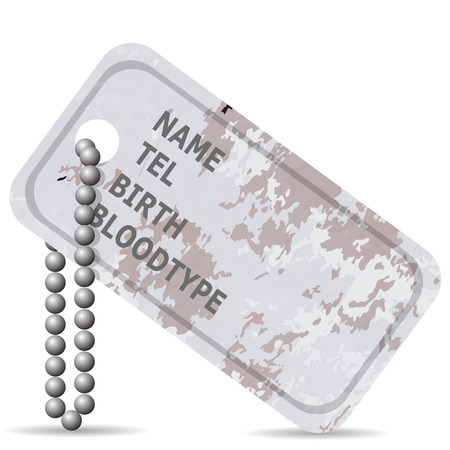 blank metallic identification plate: Military Dog Tag Isolated on White Background. Silver Identity Tag. Illustration