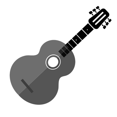 chimes: Silhoiette of Guitar Isolated on White Background. Illustration