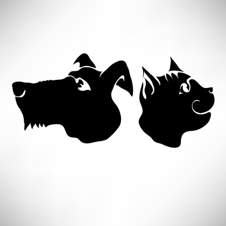 Cat and Dogs Heads Isolated on White Background. Vector