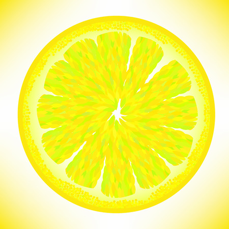 Slice of Fresh Yellow Lemon Isolated on White Background. Illustration
