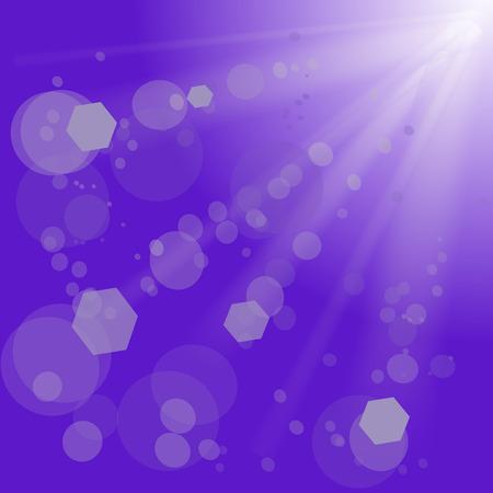 Blue Background with Sun Light. Sky Sun Rays. Vector
