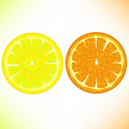 sectioned: Lemon and Orange Isolated on White Background