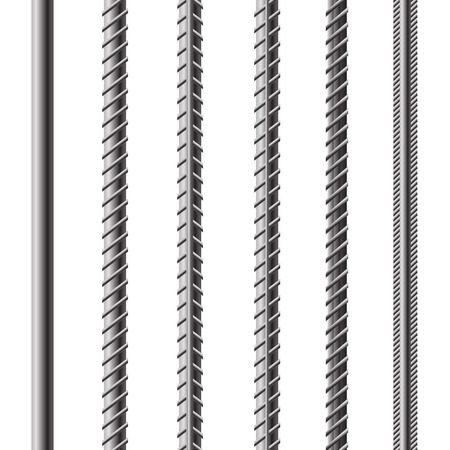 Rebars, Reinforcement Steel Isolated on White Background. Construction Metal Armature. Vectores