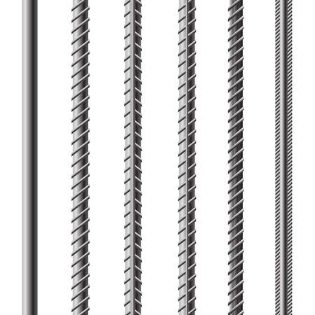 Wapeningsstaven, wapeningsstaal geïsoleerd op witte achtergrond. Bouw Metal Armature.