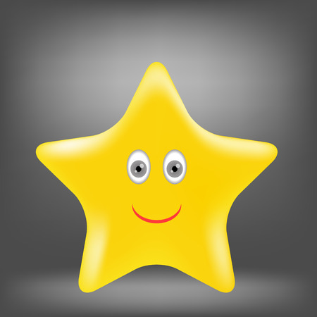 gold star: Cartoon Gold Star Isolated on Grey Background.