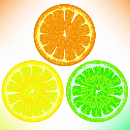 lemon lime: Orange Lemon Lime Isolated on White Background