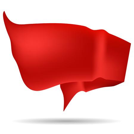 velvet ribbon: Red Ribbon Isolated on White Background. Red Waving Flag.