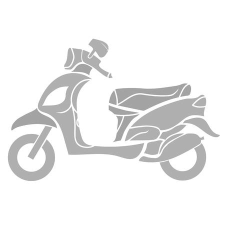 white bacground: Silueta de Scooter aislado en blanco FUNDAMENTO. Vectores
