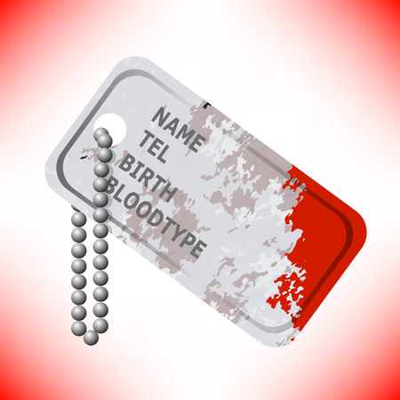 Military Dog Tag Stained with Blood on Red Background. Silver Identity Tag. Illustration