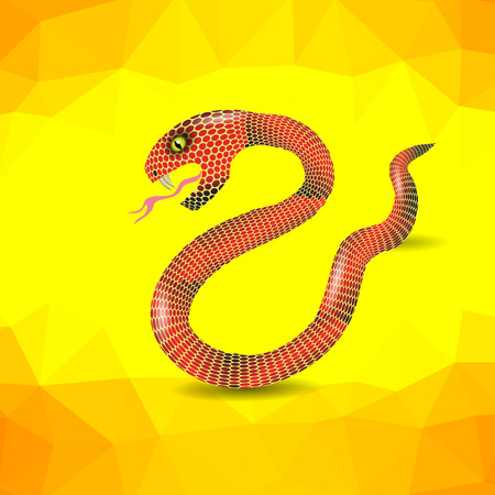 herpetology: Red Snake Ready to Attack on Yellow Polygonal Background.