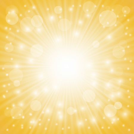 yellow: Yellow Ray Background with Stars and Wave. Stock Photo