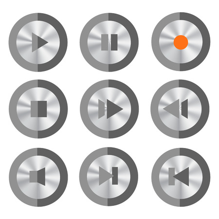 media buttons: Set of Media Buttons Isolated on White Background.