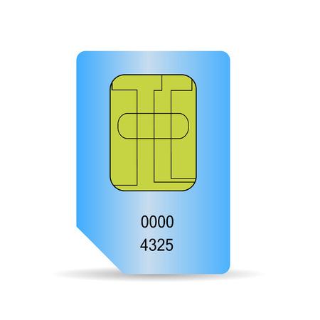 cdma: Blue SIM Card Isolated on White Background. Stock Photo