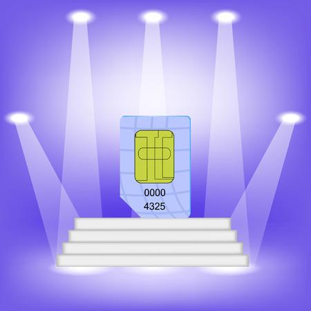 cdma: Blue SIM Card  on Light Background. SIM Card on the White Steps.