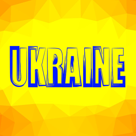 senate elections: Ukraine Text Isolated on Yellow Polygonal Background. Stock Photo