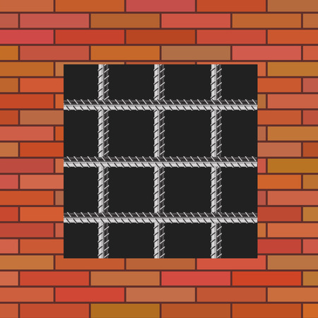 prison facility: Prison Window 0n Red Brick Wall. Jail Wall with Window.