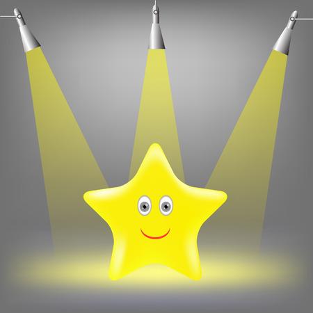 yellow star: Gold Yellow Star on Grey Light Background.