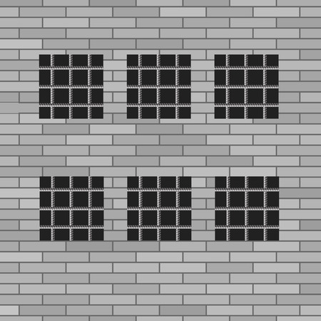 prison house: Prison Grey Brick Wall with Windows. Jail Wall.