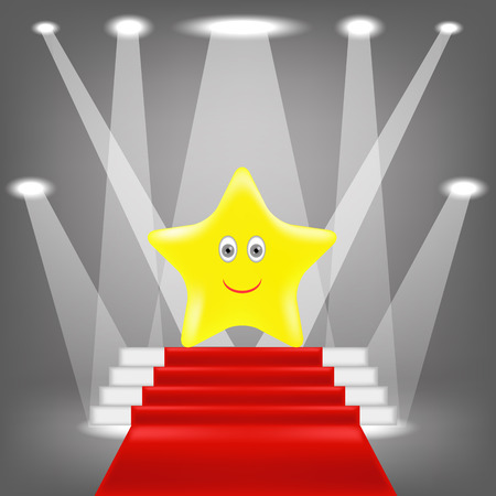 yellow star: Single Gold Yellow Star on Red Carpet. Illustration