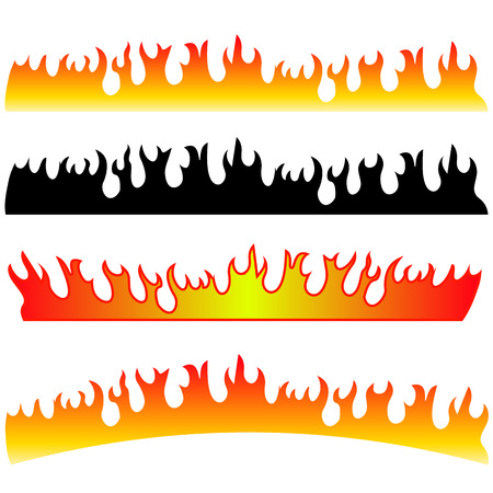 Silhouettes of Fire Isolated on White Background. Vector