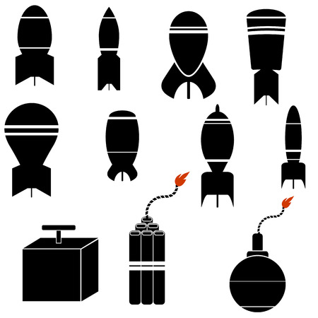 detonating: Bomb Icon Set Isolated on White Background.