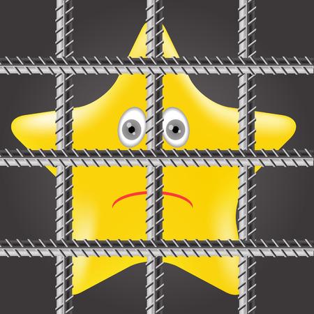 incarceration: Individual Estrella Amarilla est� tras las rejas de la prisi�n Vectores