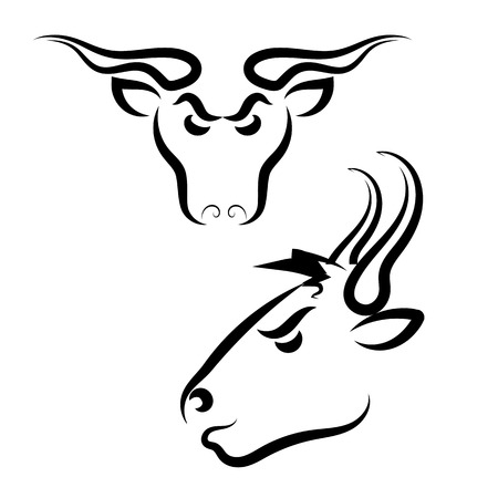 Rural Angry Bull Logo Isolated on White Background Vector