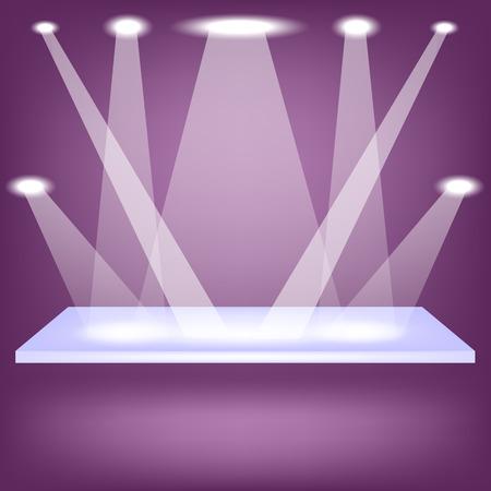 Single Empty Shelf Isolated on Purple Background