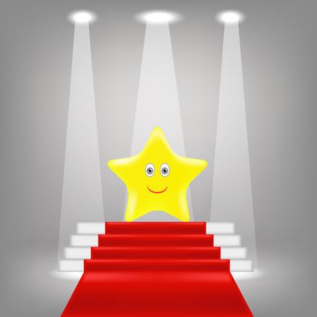 Yellow Star on Red Carpet. Winner on the Glory.