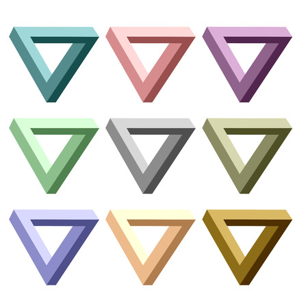 Set of Incredibly Colorful Triangles Isolated on White Background. Vettoriali