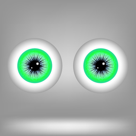 background part: Green Eyes Isolated on Grey Background. Part of Human Face.
