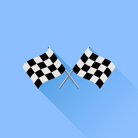 two crossed checkered flags: Two Checkered Flags Isolated on Blue Background. Illustration