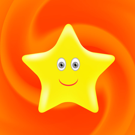 gold star: Single Gold Star on Orange Wave Background.