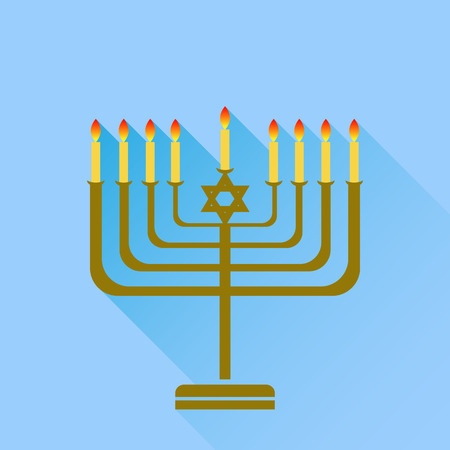 hanukka: Jewish Holiday Hanukkah. Menorah Burning Candles Isolated on Blue Background.
