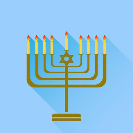 chanukiah: Jewish Holiday Hanukkah. Menorah Burning Candles Isolated on Blue Background.