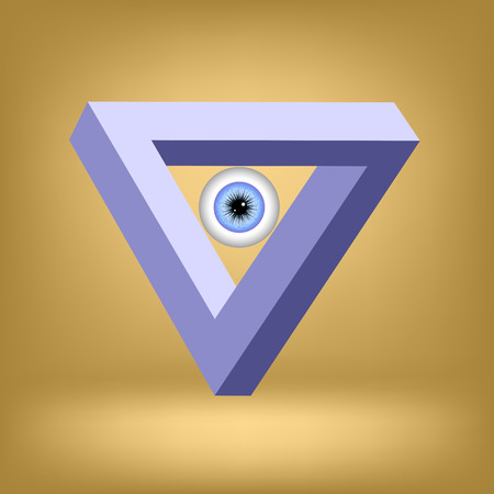 psychical: Blue Triangle With Eye Isolated on Brown Background.