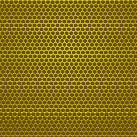 perforated: Iron Perforated Texture. Yellow Steel Perforated Background. Illustration