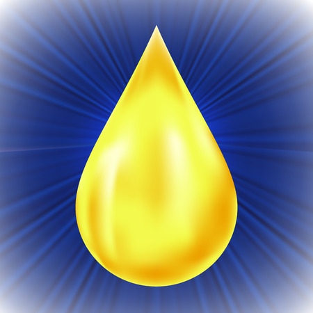 greasing: Yellow Oil Drop on Blue Wave Background.
